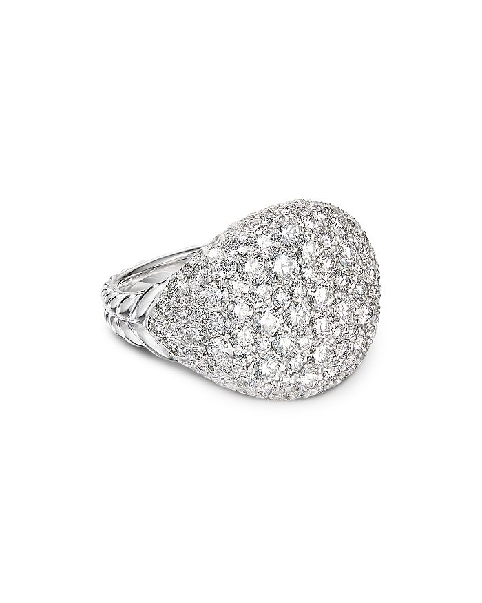 David Yurman - 18K White Gold Chevron Pinky Ring with Pavé Diamonds