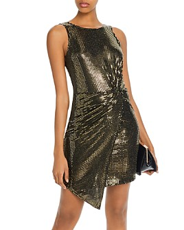 AQUA - Sequined Twist-Front Dress - 100% Exclusive