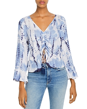Aqua Ruched Drawstring Tie-Dye Top - 100% Exclusive