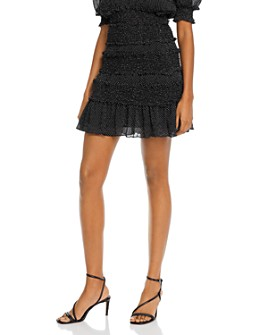 The East Order - Behati Smocked Polka Dot Mini Skirt