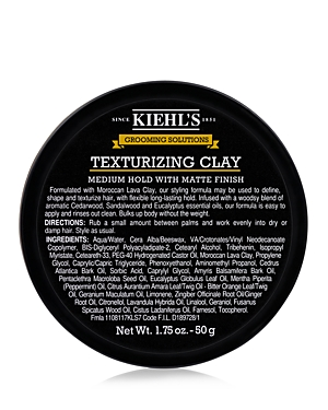 What It Is: A matte hair clay for men with a medium hold. What It Does: Formulated with Moroccan Lava Clay, this matte hair clay has a medium hold. Work through your hair to shape and define. Bulk up body without the weight. May be used to shape, texturize and define men\\\'s hairstyles. Leaves a matte finish with a medium, long-lasting hold. Applies easily and rinses out clean. Infused with a woody blend of aromatic essential oils including Cedarwood, Sandalwood and Eucalyptus. Key Ingredients: -