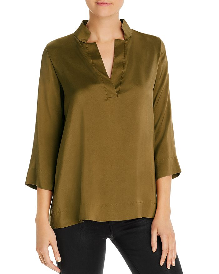 Eileen Fisher Petites - Silk Stand-Collar Blouse