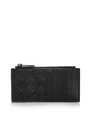 Bottega Veneta Intreciatto Zip Woven Leather Card Case