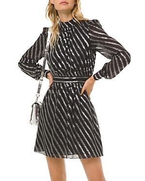 Michael Michael Kors Metallic Stripe Mini Dress-Women