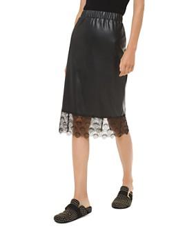 MICHAEL Michael Kors - Lace-Hem Faux-Leather Midi Skirt