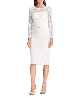Ralph Lauren - Belted Floral-Lace Dress