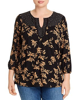 Daniel Rainn Plus - Mixed Floral-Print Blouse