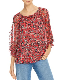 Parker - Molly Silk Ruffled Floral Top