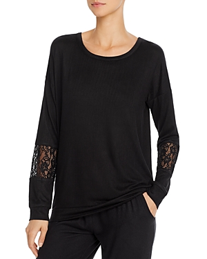 Pj Salvage Lace-Inset Long Sleeve Top