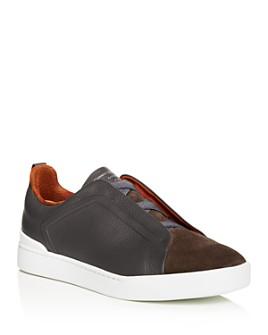 Ermenegildo Zegna - Men's Triple Stitch Leather & Suede Slip-On Sneakers