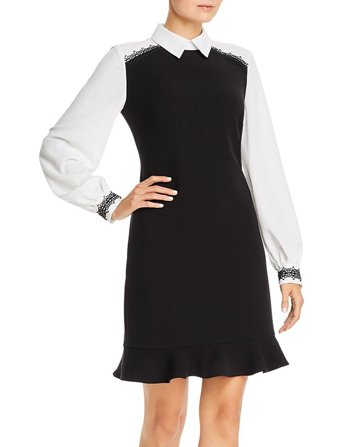 Karl Lagerfeld LAYERED-LOOK LACE-TRIM DRESS