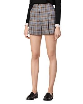 Sandro - Anor Pleated Plaid Mini Shorts