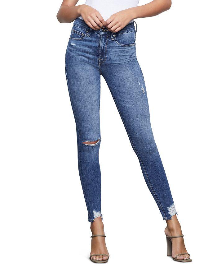 Good American - Good Waist Chewed Hem Skinny Jeans in Blue349