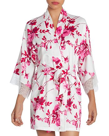 In Bloom by Jonquil - Floral Matte Satin Wrap Robe