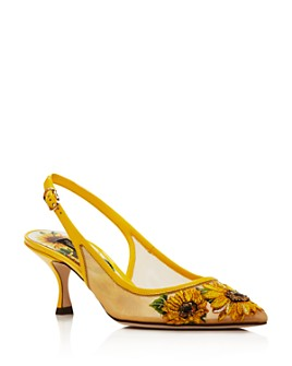 Dolce & Gabbana - Women's Leather Sunflower Slingback Pumps