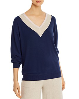 Three Dots - Brushed V-Neck Varsity Sweater