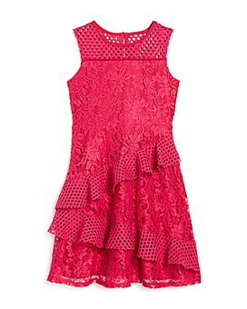 US Angels - Girls' Mesh-Trim Lace Dress - Little Kid