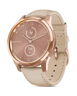 Garmin - Vivomove Luxe Leather Strap Touchscreen Hybrid Smartwatch, 42mm