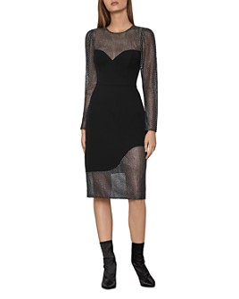 BCBGMAXAZRIA - Metallic-Lace Panel Sheath Dress