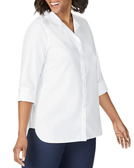 Foxcroft Plus - Pandora Non-Iron Cotton Tunic Shirt