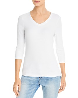 Three Dots - Ribbed V-Neck Top