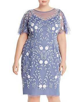 Adrianna Papell Plus - Floral Embroidered Flutter-Sleeve Dress