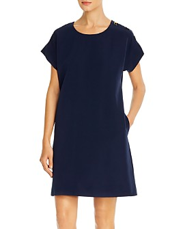 T Tahari - Shoulder-Button Shift Dress