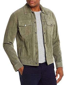 FRAME - Suede Slim Fit Trucker Jacket