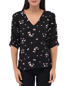 B Collection by Bobeau - Floral-Print Ruched Detail Blouse