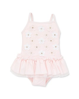 Little Me - Girls' Floral Appliqué Ruffled Swimsuit - Baby