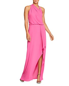 HALSTON - Draped Asymmetric Georgette Gown