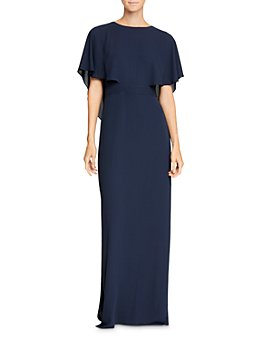 HALSTON - Cape Sleeve High-Neck Georgette Gown