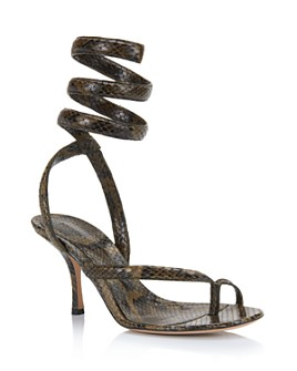 Bottega Veneta - Women's Snake-Print High-Heel Sandals
