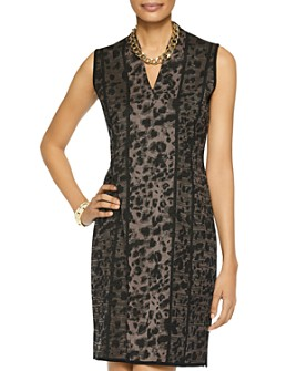 Misook - Leopard Print Knit Sheath Dress