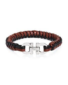 Salvatore Ferragamo - Double Gancini Woven Leather Bracelet