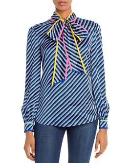 Tory Burch - Striped Silk Tie-Neck Blouse