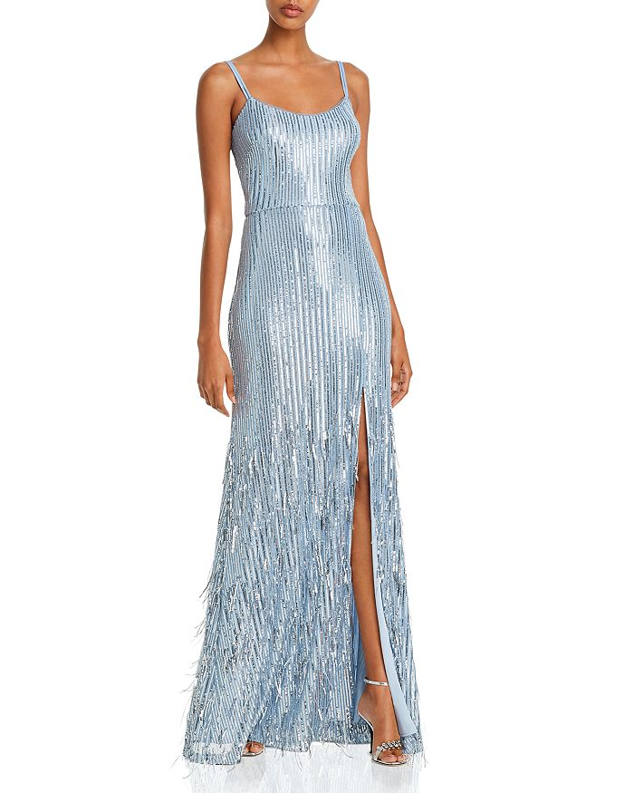 AQUA - Long Sequin Fringe Gown - 100% Exclusive