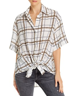 7 For All Mankind - Tie-Front Short Sleeve Button-Down Shirt