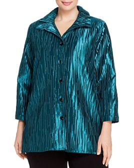 Caroline Rose Plus - Ruched Detail Textured Jacket
