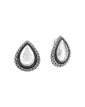 John Hardy Sterling Silver Classic Chain Black Sapphire & Black Spinel Hammered Stud Earrings