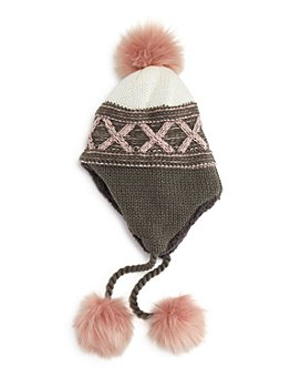 AQUA - Girls' Crisscross Knit Hat - 100% Exclusive
