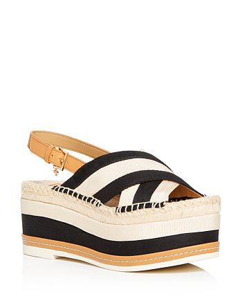 Tory Burch - Women's Criss-Cross Slingback Platform Sandals