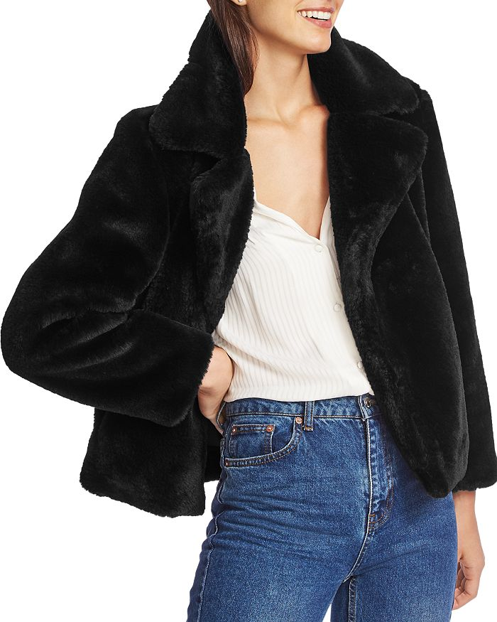 1.state Cropped Faux-fur Jacket In Rich Black