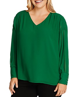 VINCE CAMUTO Plus - Smocked Detail V-Neck Top