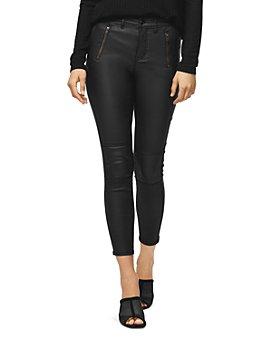 Sanctuary - Skinny Moto Ankle Jeans in Coated Black