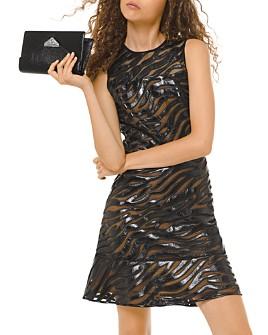 MICHAEL Michael Kors - Appliquéd Faux-Leather Mesh Mini Dress