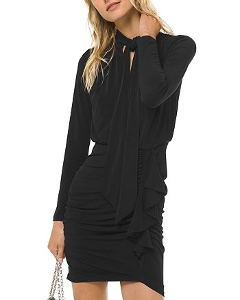 MICHAEL Michael Kors - Ruched Tie-Neck Jersey Mini Dress