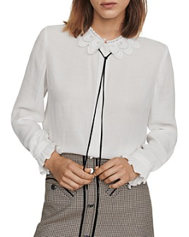 Maje - Cassidi Lace-Collar Crepe Shirt