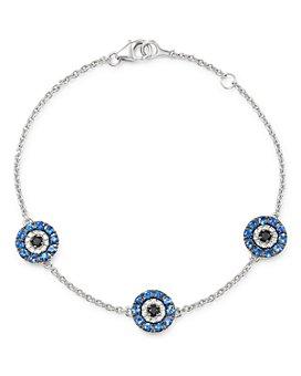 Bloomingdale's - Diamond & Sapphire Evil Eye Bracelet in 14K White Gold - 100% Exclusive