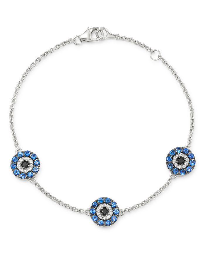 Bloomingdale's Diamond & Sapphire Evil Eye Bracelet in 14K White Gold - 100% Exclusive     Bloomingdale's